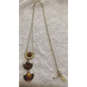 Brown and gold long necklace